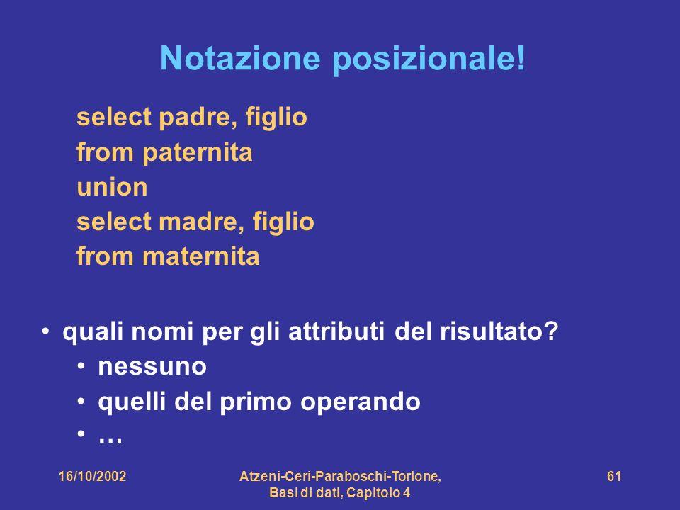 16/10/2002Atzeni-Ceri-Paraboschi-Torlone, Basi di dati, Capitolo 4 61 Notazione posizionale.