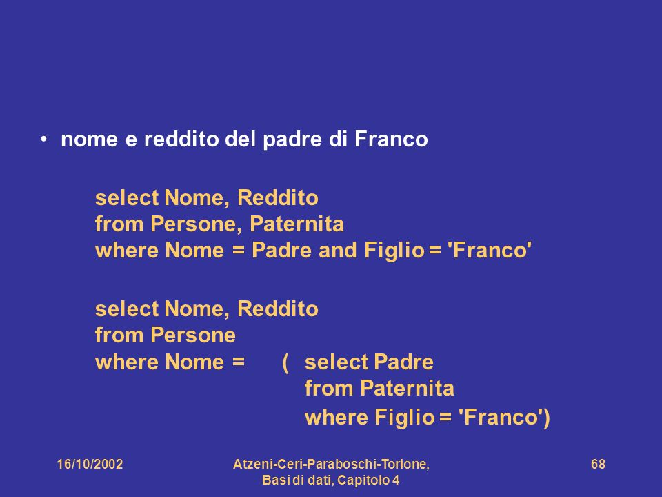 16/10/2002Atzeni-Ceri-Paraboschi-Torlone, Basi di dati, Capitolo 4 68 nome e reddito del padre di Franco select Nome, Reddito from Persone, Paternita where Nome = Padre and Figlio = Franco select Nome, Reddito from Persone where Nome = (select Padre from Paternita where Figlio = Franco )