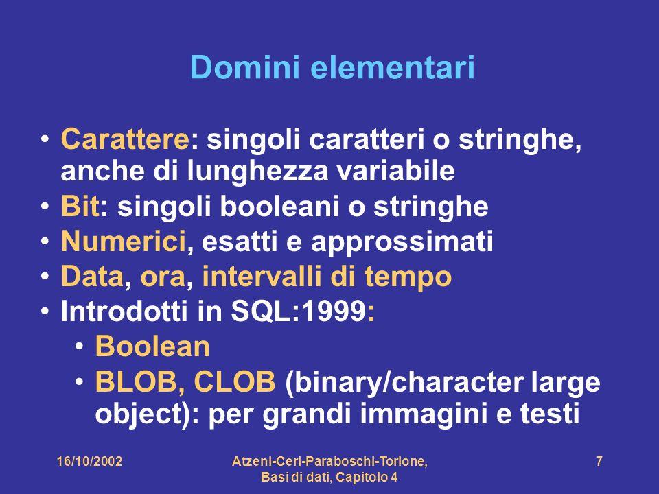 16/10/2002Atzeni-Ceri-Paraboschi-Torlone, Basi di dati, Capitolo 4 7 Domini elementari Carattere: singoli caratteri o stringhe, anche di lunghezza variabile Bit: singoli booleani o stringhe Numerici, esatti e approssimati Data, ora, intervalli di tempo Introdotti in SQL:1999: Boolean BLOB, CLOB (binary/character large object): per grandi immagini e testi