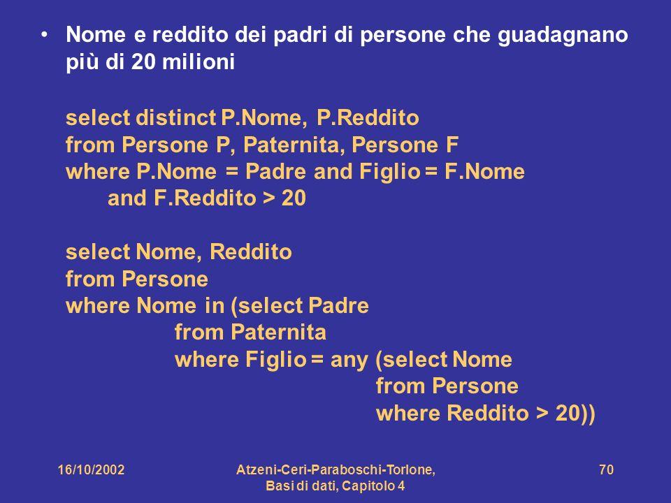 16/10/2002Atzeni-Ceri-Paraboschi-Torlone, Basi di dati, Capitolo 4 70 Nome e reddito dei padri di persone che guadagnano più di 20 milioni select distinct P.Nome, P.Reddito from Persone P, Paternita, Persone F where P.Nome = Padre and Figlio = F.Nome and F.Reddito > 20 select Nome, Reddito from Persone where Nome in (select Padre from Paternita where Figlio = any (select Nome from Persone where Reddito > 20))