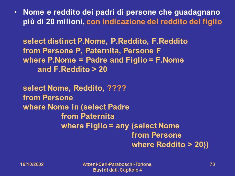 16/10/2002Atzeni-Ceri-Paraboschi-Torlone, Basi di dati, Capitolo 4 73 Nome e reddito dei padri di persone che guadagnano più di 20 milioni, con indicazione del reddito del figlio select distinct P.Nome, P.Reddito, F.Reddito from Persone P, Paternita, Persone F where P.Nome = Padre and Figlio = F.Nome and F.Reddito > 20 select Nome, Reddito, .