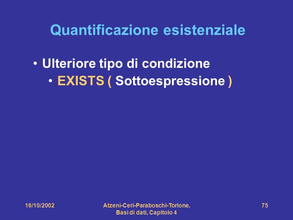 16/10/2002Atzeni-Ceri-Paraboschi-Torlone, Basi di dati, Capitolo 4 75 Quantificazione esistenziale Ulteriore tipo di condizione EXISTS ( Sottoespressione )