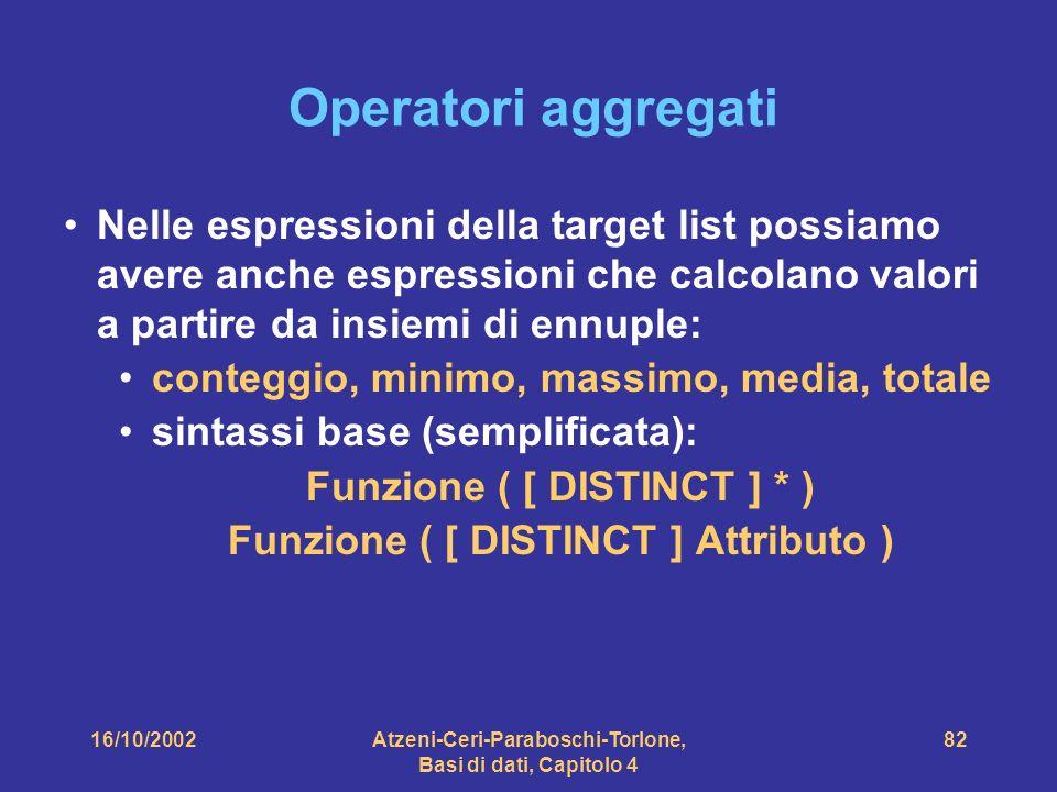 16/10/2002Atzeni-Ceri-Paraboschi-Torlone, Basi di dati, Capitolo 4 82 Operatori aggregati Nelle espressioni della target list possiamo avere anche espressioni che calcolano valori a partire da insiemi di ennuple: conteggio, minimo, massimo, media, totale sintassi base (semplificata): Funzione ( [ DISTINCT ] * ) Funzione ( [ DISTINCT ] Attributo )