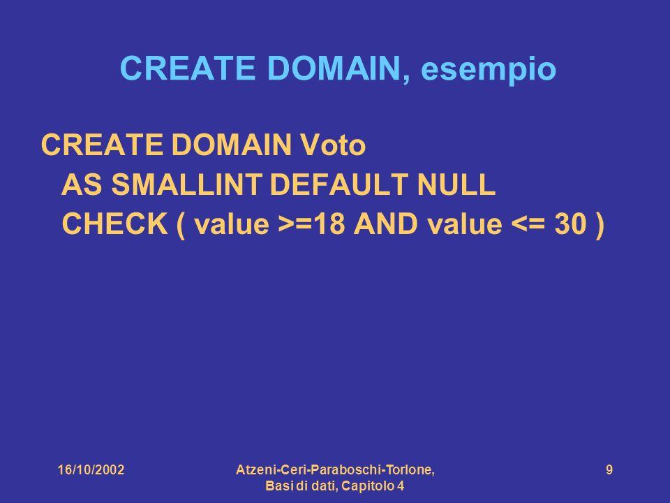 16/10/2002Atzeni-Ceri-Paraboschi-Torlone, Basi di dati, Capitolo 4 9 CREATE DOMAIN, esempio CREATE DOMAIN Voto AS SMALLINT DEFAULT NULL CHECK ( value >=18 AND value <= 30 )