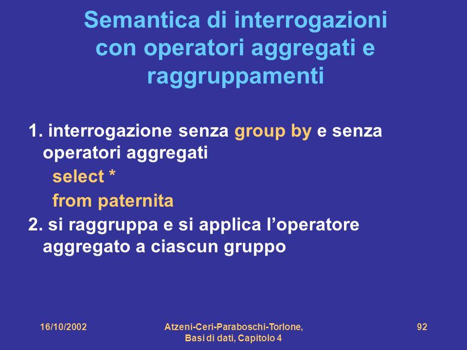 16/10/2002Atzeni-Ceri-Paraboschi-Torlone, Basi di dati, Capitolo 4 92 Semantica di interrogazioni con operatori aggregati e raggruppamenti 1.