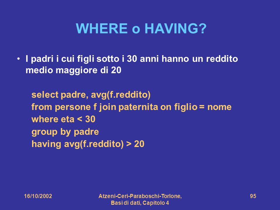 16/10/2002Atzeni-Ceri-Paraboschi-Torlone, Basi di dati, Capitolo 4 95 WHERE o HAVING.