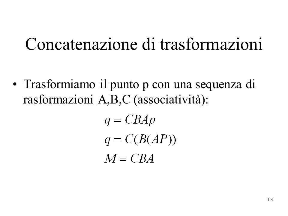 13 Concatenazione di trasformazioni Trasformiamo il punto p con una sequenza di rasformazioni A,B,C (associatività):