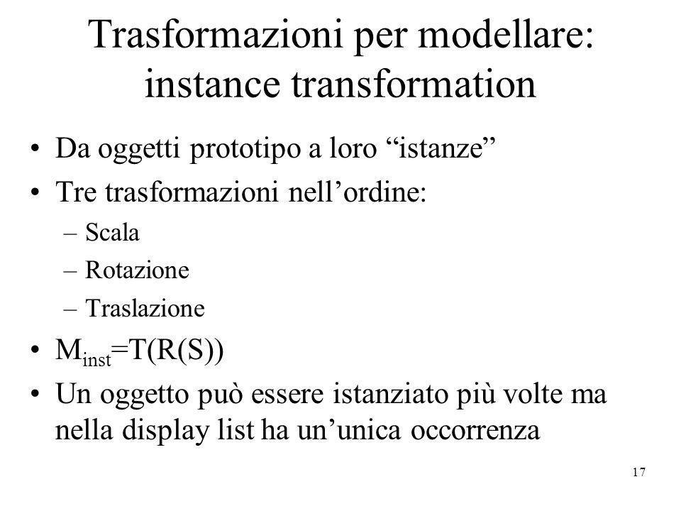 17 Trasformazioni per modellare: instance transformation Da oggetti prototipo a loro istanze Tre trasformazioni nellordine: –Scala –Rotazione –Traslaz