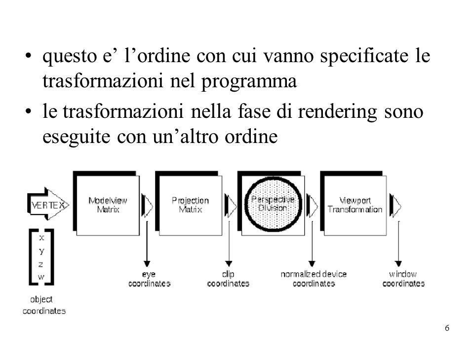 6 questo e lordine con cui vanno specificate le trasformazioni nel programma le trasformazioni nella fase di rendering sono eseguite con unaltro ordin