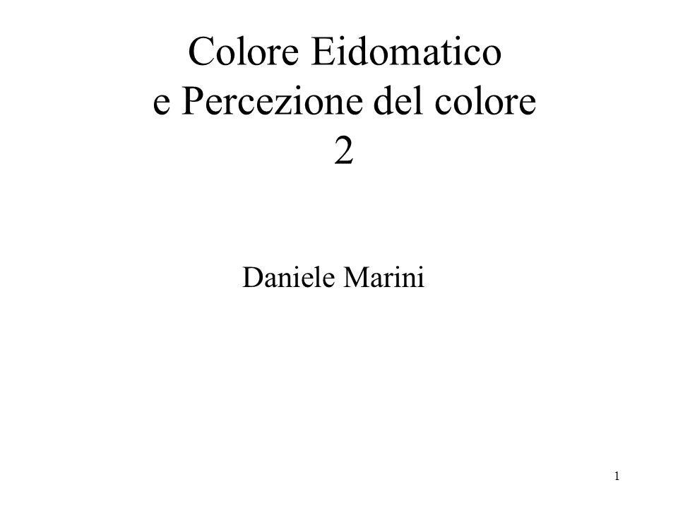 1 Colore Eidomatico e Percezione del colore 2 Daniele Marini