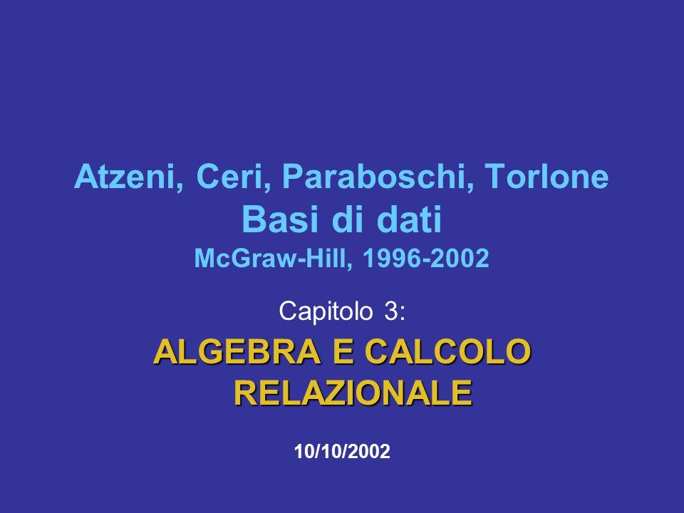 10/10/2002Atzeni-Ceri-Paraboschi-Torlone, Basi di dati, Capitolo 3 22 Impiegati CognomeFilialeStipendioMatricola NeriMilano645998 RossiRoma557309 NeriNapoli645698 Milano 449553 impiegati che hanno lo stesso nome della filiale presso cui lavorano SEL Cognome = Filiale (Impiegati) NeriMilano645998 RossiRoma557309 NeriNapoli645698 Milano 449553 SEL Cognome = Filiale (Impiegati)
