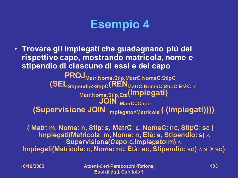 10/10/2002Atzeni-Ceri-Paraboschi-Torlone, Basi di dati, Capitolo 3 103 Esempio 4 Trovare gli impiegati che guadagnano più del rispettivo capo, mostrando matricola, nome e stipendio di ciascuno di essi e del capo PROJ Matr,Nome,Stip,MatrC,NomeC,StipC (SEL Stipendio>StipC (REN MatrC,NomeC,StipC,EtàC Matr,Nome,Stip,Età (Impiegati) JOIN MatrC=Capo (Supervisione JOIN Impiegato=Matricola ( (Impiegati)))) { Matr: m, Nome: n, Stip: s, MatrC: c, NomeC: nc, StipC: sc | Impiegati(Matricola: m, Nome: n, Età: e, Stipendio: s) Supervisione(Capo:c,Impiegato:m) Impiegati(Matricola: c, Nome: nc, Età: ec, Stipendio: sc) s > sc}