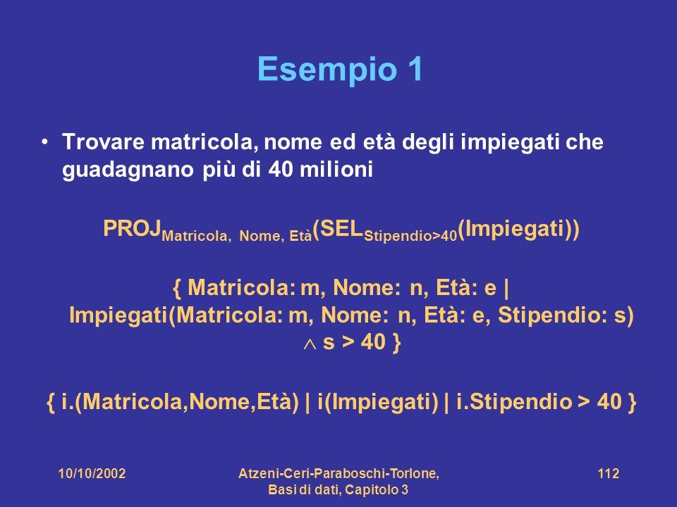 10/10/2002Atzeni-Ceri-Paraboschi-Torlone, Basi di dati, Capitolo 3 112 Esempio 1 Trovare matricola, nome ed età degli impiegati che guadagnano più di 40 milioni PROJ Matricola, Nome, Età (SEL Stipendio>40 (Impiegati)) { Matricola: m, Nome: n, Età: e | Impiegati(Matricola: m, Nome: n, Età: e, Stipendio: s) s > 40 } { i.(Matricola,Nome,Età) | i(Impiegati) | i.Stipendio > 40 }