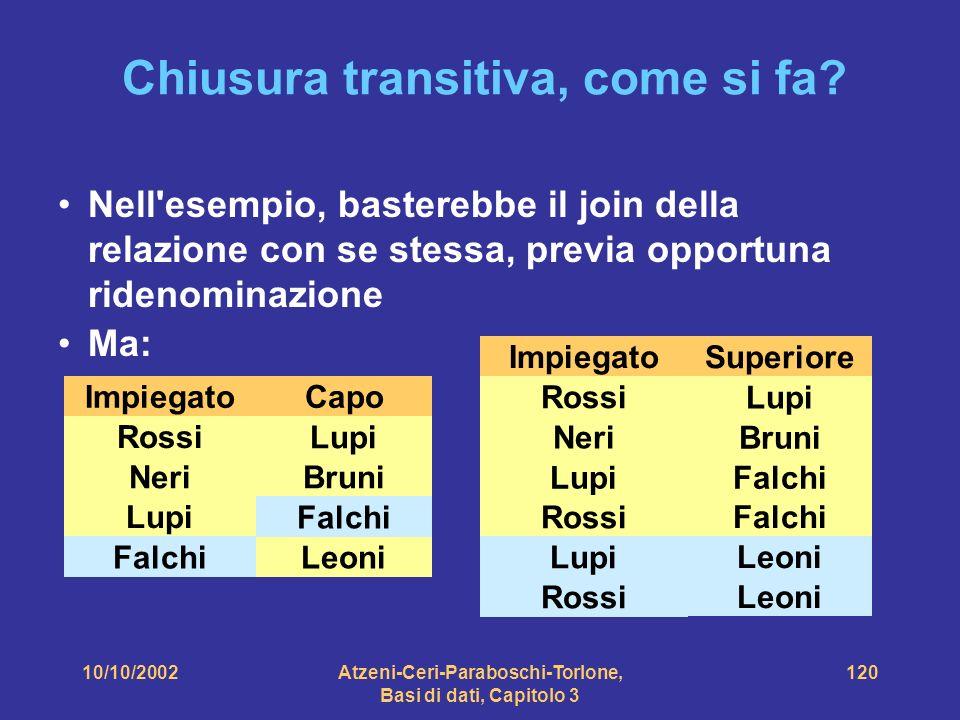10/10/2002Atzeni-Ceri-Paraboschi-Torlone, Basi di dati, Capitolo 3 120 Chiusura transitiva, come si fa.
