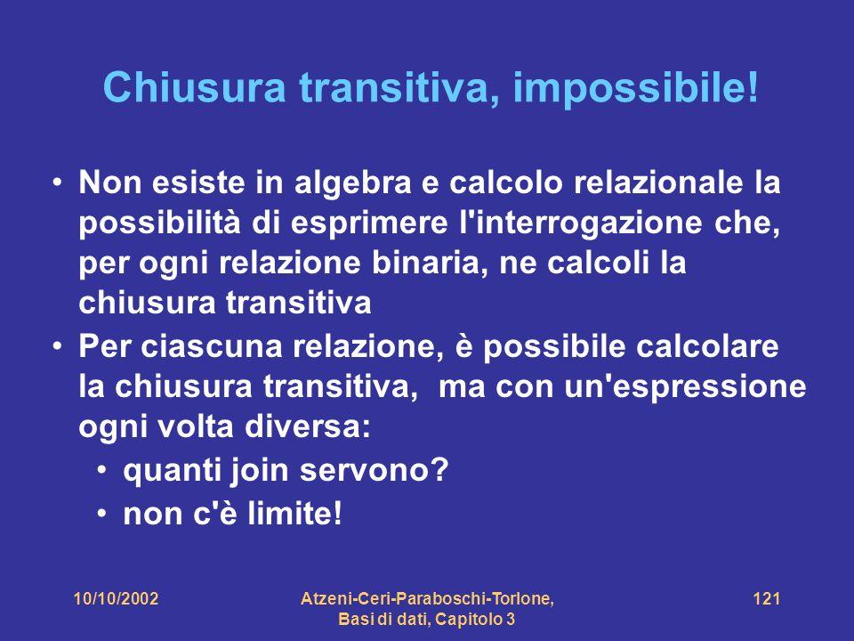 10/10/2002Atzeni-Ceri-Paraboschi-Torlone, Basi di dati, Capitolo 3 121 Chiusura transitiva, impossibile.