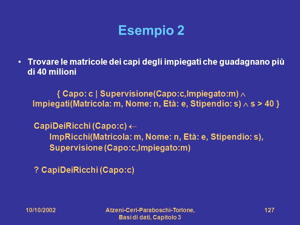 10/10/2002Atzeni-Ceri-Paraboschi-Torlone, Basi di dati, Capitolo 3 127 Esempio 2 Trovare le matricole dei capi degli impiegati che guadagnano più di 40 milioni { Capo: c | Supervisione(Capo:c,Impiegato:m) Impiegati(Matricola: m, Nome: n, Età: e, Stipendio: s) s > 40 } CapiDeiRicchi (Capo:c) ImpRicchi(Matricola: m, Nome: n, Età: e, Stipendio: s), Supervisione (Capo:c,Impiegato:m) .