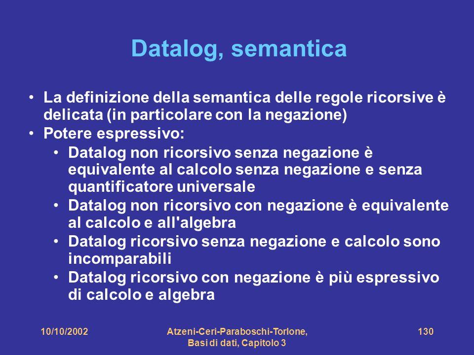 10/10/2002Atzeni-Ceri-Paraboschi-Torlone, Basi di dati, Capitolo 3 130 Datalog, semantica La definizione della semantica delle regole ricorsive è delicata (in particolare con la negazione) Potere espressivo: Datalog non ricorsivo senza negazione è equivalente al calcolo senza negazione e senza quantificatore universale Datalog non ricorsivo con negazione è equivalente al calcolo e all algebra Datalog ricorsivo senza negazione e calcolo sono incomparabili Datalog ricorsivo con negazione è più espressivo di calcolo e algebra