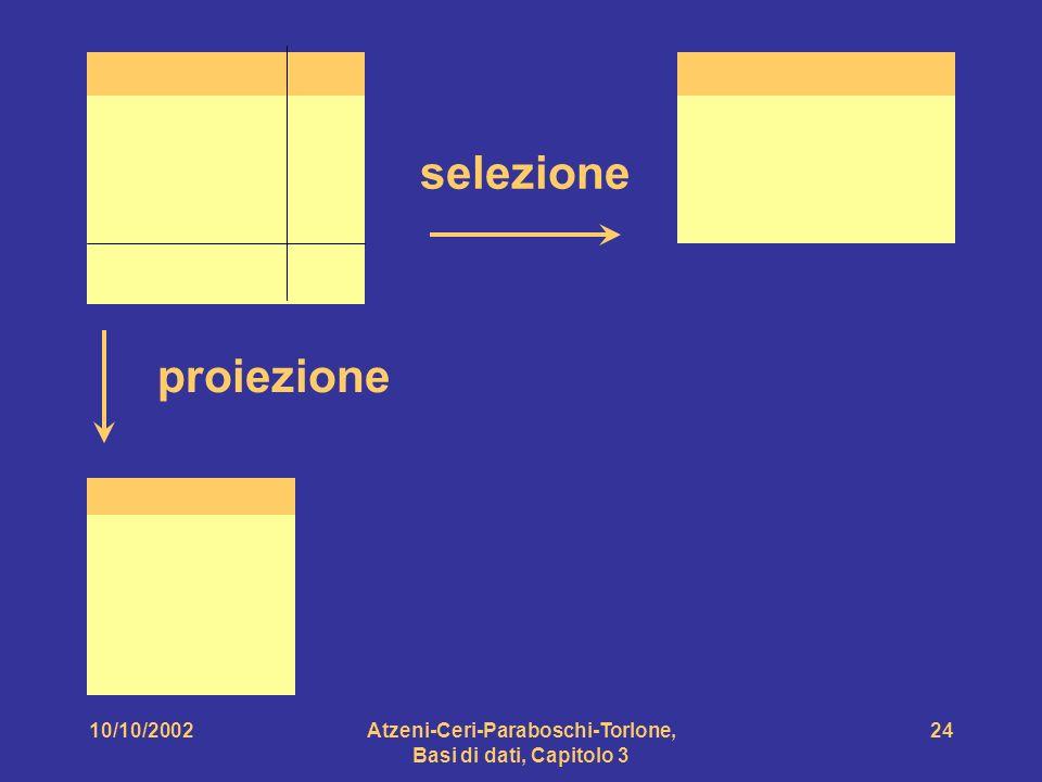 10/10/2002Atzeni-Ceri-Paraboschi-Torlone, Basi di dati, Capitolo 3 24 selezione proiezione