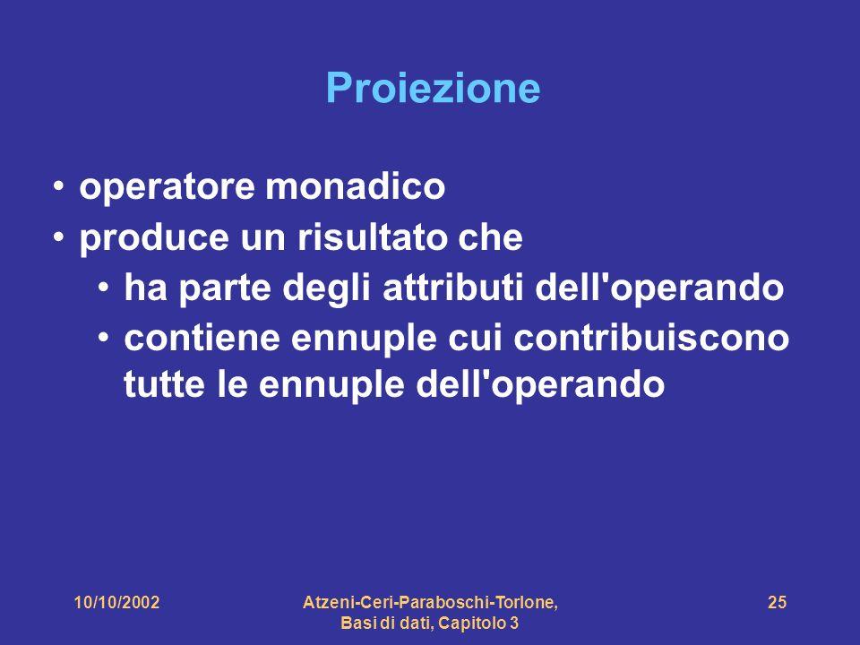 10/10/2002Atzeni-Ceri-Paraboschi-Torlone, Basi di dati, Capitolo 3 25 Proiezione operatore monadico produce un risultato che ha parte degli attributi dell operando contiene ennuple cui contribuiscono tutte le ennuple dell operando