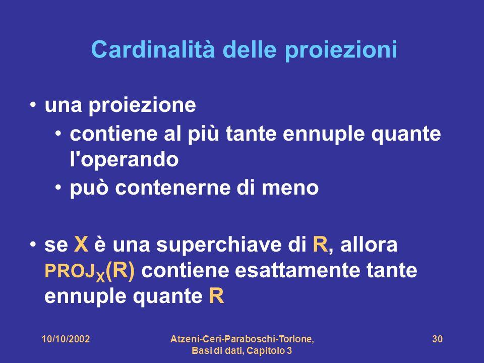 10/10/2002Atzeni-Ceri-Paraboschi-Torlone, Basi di dati, Capitolo 3 30 Cardinalità delle proiezioni una proiezione contiene al più tante ennuple quante l operando può contenerne di meno se X è una superchiave di R, allora PROJ X (R) contiene esattamente tante ennuple quante R