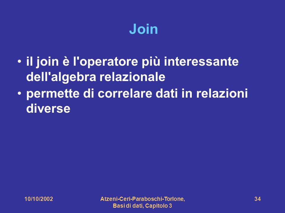 10/10/2002Atzeni-Ceri-Paraboschi-Torlone, Basi di dati, Capitolo 3 34 Join il join è l operatore più interessante dell algebra relazionale permette di correlare dati in relazioni diverse