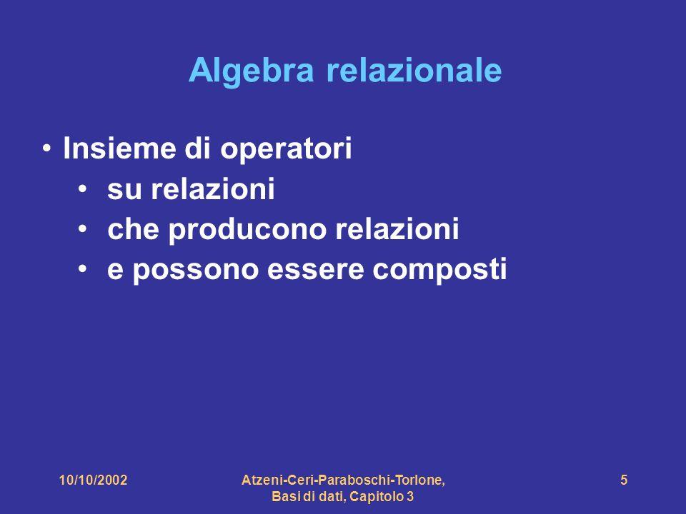 10/10/2002Atzeni-Ceri-Paraboschi-Torlone, Basi di dati, Capitolo 3 5 Algebra relazionale Insieme di operatori su relazioni che producono relazioni e possono essere composti