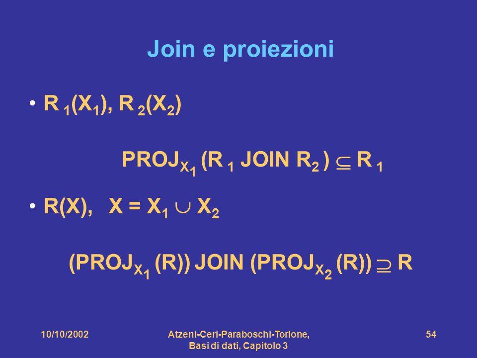 10/10/2002Atzeni-Ceri-Paraboschi-Torlone, Basi di dati, Capitolo 3 54 Join e proiezioni R 1 (X 1 ), R 2 (X 2 ) PROJ X 1 (R 1 JOIN R 2 ) R 1 R(X), X = X 1 X 2 (PROJ X 1 (R)) JOIN (PROJ X 2 (R)) R