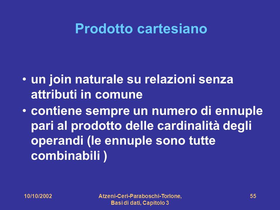 10/10/2002Atzeni-Ceri-Paraboschi-Torlone, Basi di dati, Capitolo 3 55 Prodotto cartesiano un join naturale su relazioni senza attributi in comune contiene sempre un numero di ennuple pari al prodotto delle cardinalità degli operandi (le ennuple sono tutte combinabili )