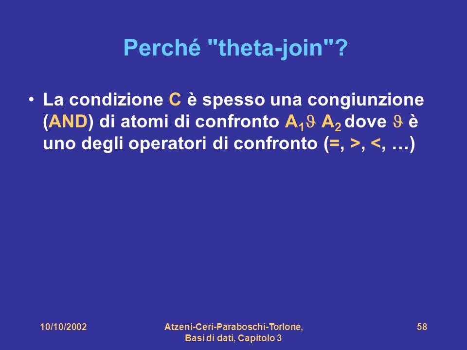 10/10/2002Atzeni-Ceri-Paraboschi-Torlone, Basi di dati, Capitolo 3 58 Perché theta-join .