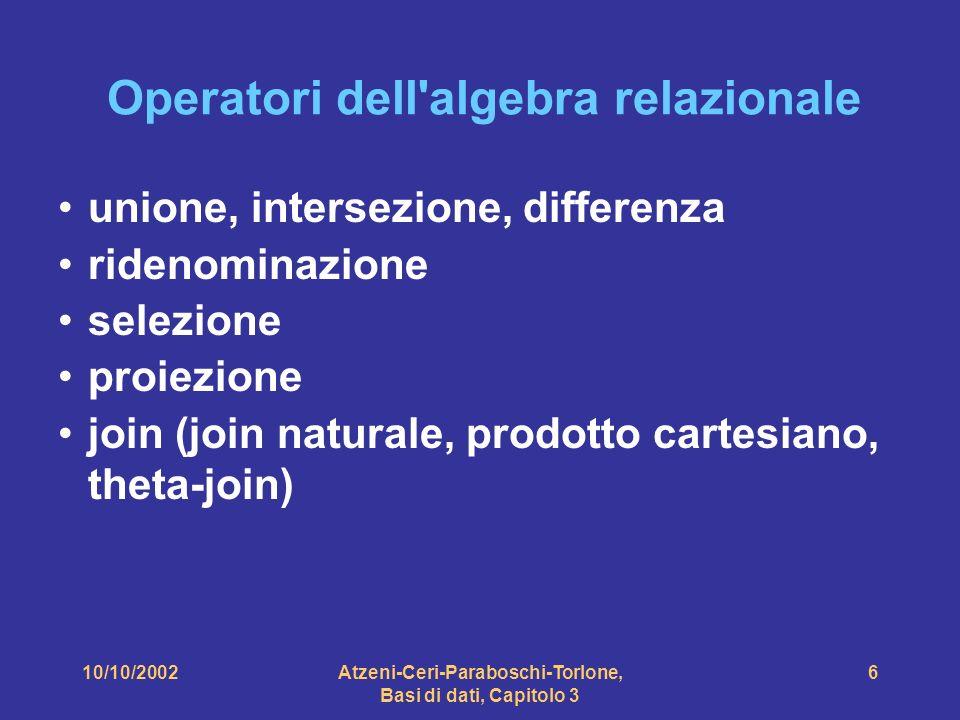 10/10/2002Atzeni-Ceri-Paraboschi-Torlone, Basi di dati, Capitolo 3 6 Operatori dell algebra relazionale unione, intersezione, differenza ridenominazione selezione proiezione join (join naturale, prodotto cartesiano, theta-join)
