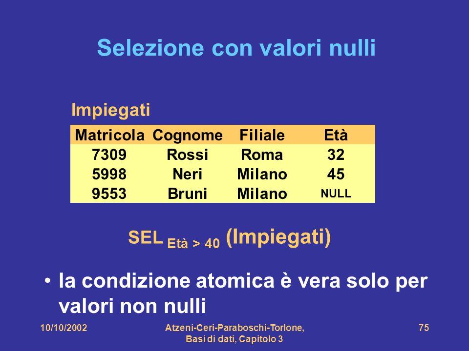 10/10/2002Atzeni-Ceri-Paraboschi-Torlone, Basi di dati, Capitolo 3 75 Selezione con valori nulli CognomeFilialeEtàMatricola NeriMilano455998 RossiRoma327309 BruniMilano NULL 9553 Impiegati SEL Età > 40 (Impiegati) la condizione atomica è vera solo per valori non nulli