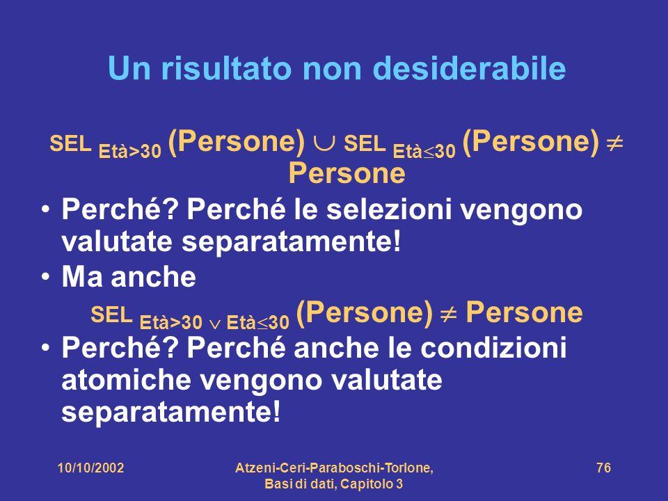 10/10/2002Atzeni-Ceri-Paraboschi-Torlone, Basi di dati, Capitolo 3 76 Un risultato non desiderabile SEL Età>30 (Persone) SEL Età 30 (Persone) Persone Perché.