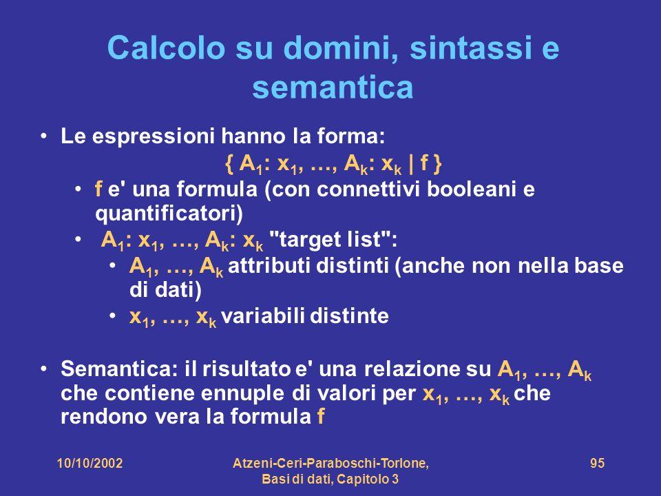 10/10/2002Atzeni-Ceri-Paraboschi-Torlone, Basi di dati, Capitolo 3 95 Calcolo su domini, sintassi e semantica Le espressioni hanno la forma: { A 1 : x 1, …, A k : x k | f } f e una formula (con connettivi booleani e quantificatori) A 1 : x 1, …, A k : x k target list : A 1, …, A k attributi distinti (anche non nella base di dati) x 1, …, x k variabili distinte Semantica: il risultato e una relazione su A 1, …, A k che contiene ennuple di valori per x 1, …, x k che rendono vera la formula f