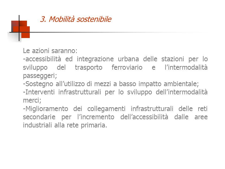 Le azioni saranno: -accessibilità ed integrazione urbana delle stazioni per lo sviluppo del trasporto ferroviario e lintermodalità passeggeri; -Sosteg