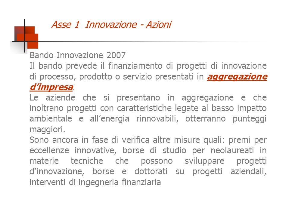 Bando Innovazione 2007 Il bando prevede il finanziamento di progetti di innovazione di processo, prodotto o servizio presentati in aggregazione dimpre