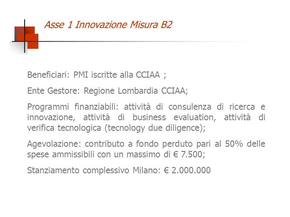 Asse 1 Innovazione Misura B2 Beneficiari: PMI iscritte alla CCIAA ; Ente Gestore: Regione Lombardia CCIAA; Programmi finanziabili: attività di consulenza di ricerca e innovazione, attività di business evaluation, attività di verifica tecnologica (tecnology due diligence); Agevolazione: contributo a fondo perduto pari al 50% delle spese ammissibili con un massimo di 7.500; Stanziamento complessivo Milano: 2.000.000