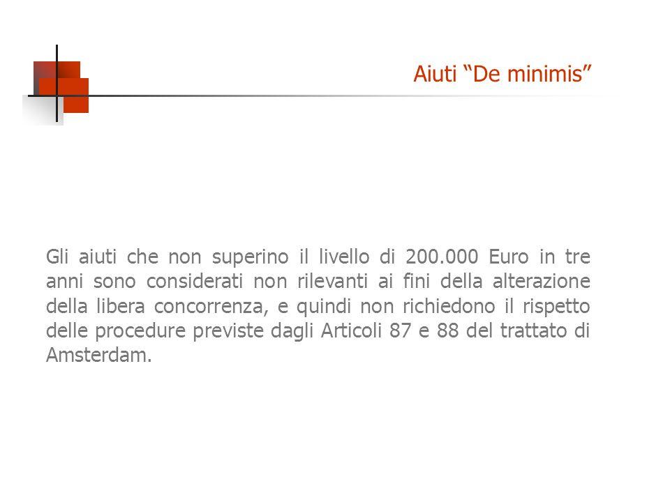 Gli aiuti che non superino il livello di 200.000 Euro in tre anni sono considerati non rilevanti ai fini della alterazione della libera concorrenza, e