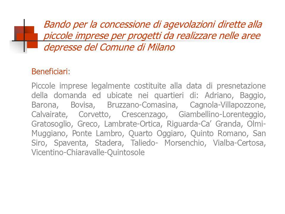 Beneficiari: Piccole imprese legalmente costituite alla data di presnetazione della domanda ed ubicate nei quartieri di: Adriano, Baggio, Barona, Bovi