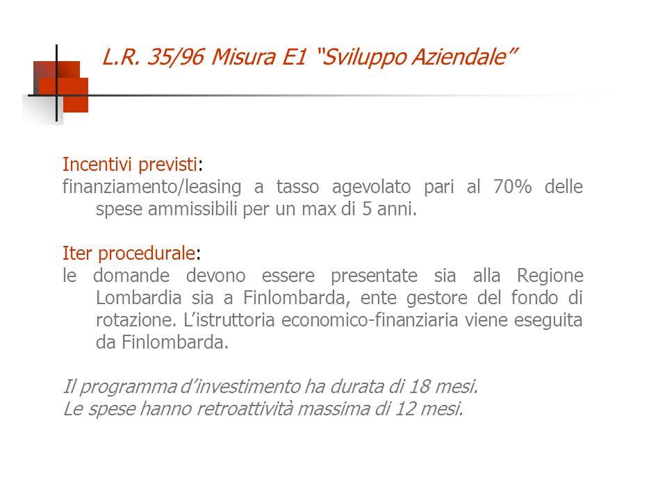 L.R. 35/96 Misura E1 Sviluppo Aziendale Incentivi previsti: finanziamento/leasing a tasso agevolato pari al 70% delle spese ammissibili per un max di
