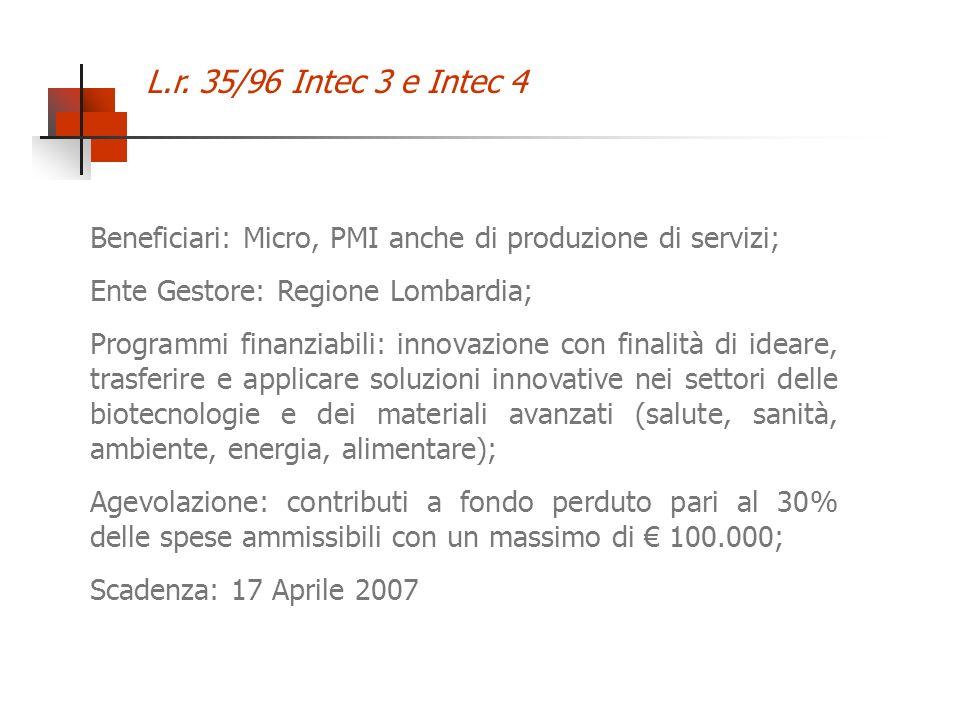 L.r. 35/96 Intec 3 e Intec 4 Beneficiari: Micro, PMI anche di produzione di servizi; Ente Gestore: Regione Lombardia; Programmi finanziabili: innovazi