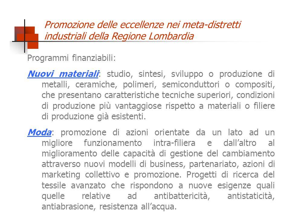 Promozione delle eccellenze nei meta-distretti industriali della Regione Lombardia Programmi finanziabili: Nuovi materiali: studio, sintesi, sviluppo