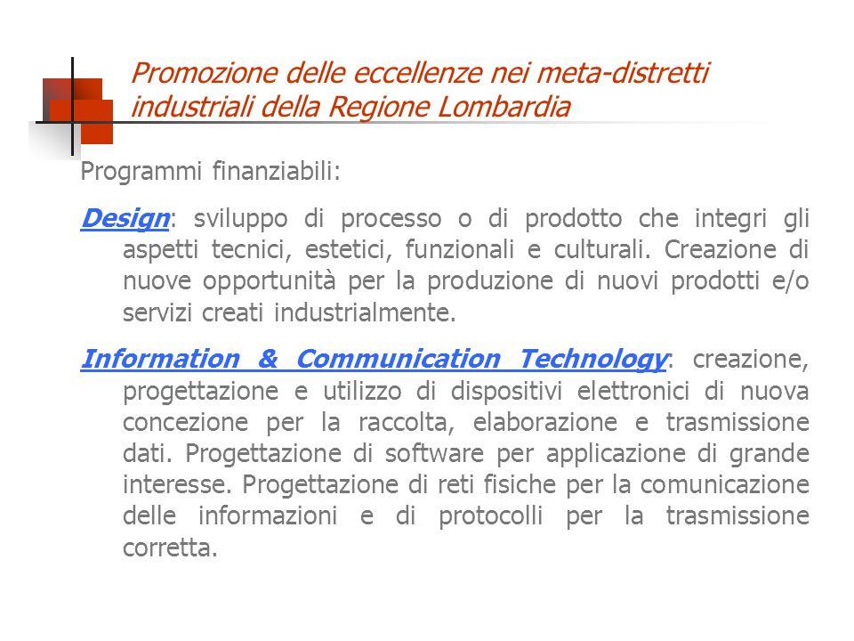 Promozione delle eccellenze nei meta-distretti industriali della Regione Lombardia Programmi finanziabili: Design: sviluppo di processo o di prodotto che integri gli aspetti tecnici, estetici, funzionali e culturali.