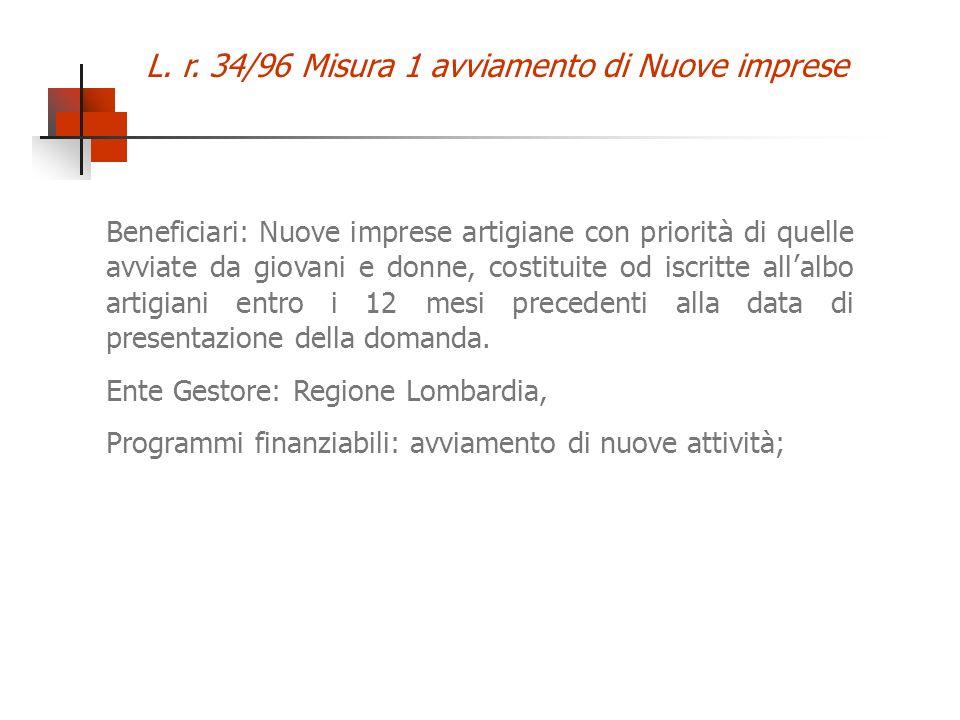 L. r. 34/96 Misura 1 avviamento di Nuove imprese Beneficiari: Nuove imprese artigiane con priorit à di quelle avviate da giovani e donne, costituite o