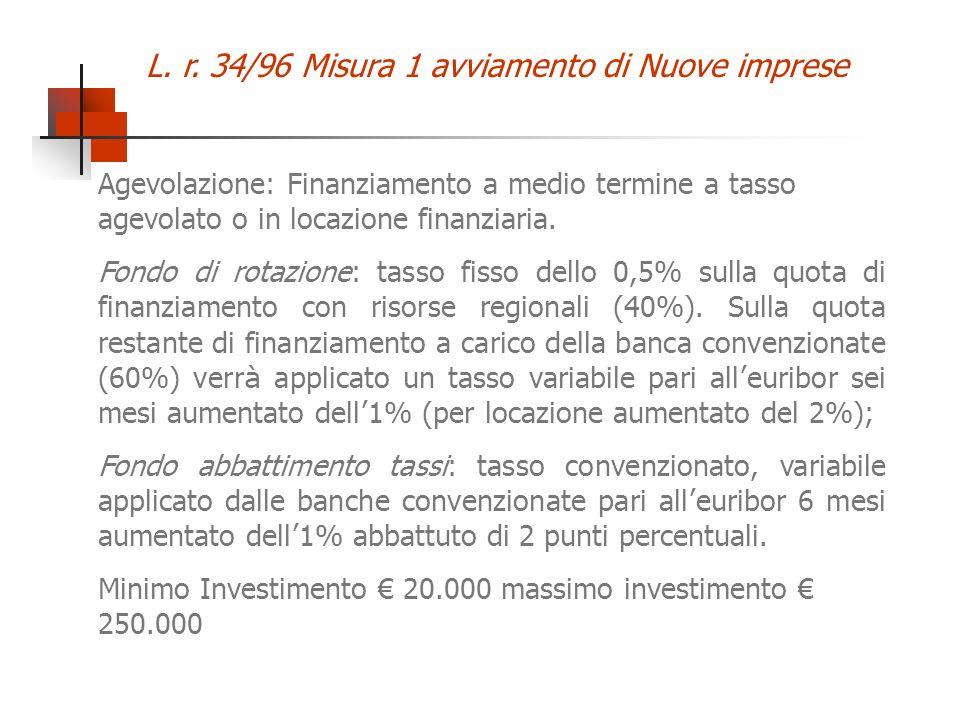 L. r. 34/96 Misura 1 avviamento di Nuove imprese Agevolazione: Finanziamento a medio termine a tasso agevolato o in locazione finanziaria. Fondo di ro