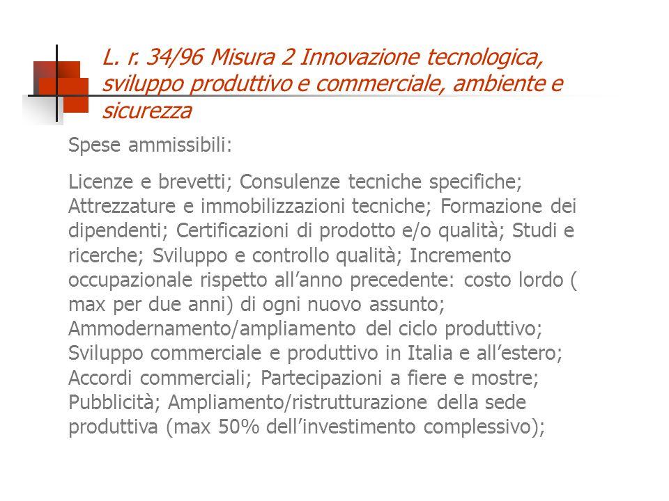 L. r. 34/96 Misura 2 Innovazione tecnologica, sviluppo produttivo e commerciale, ambiente e sicurezza Spese ammissibili: Licenze e brevetti; Consulenz