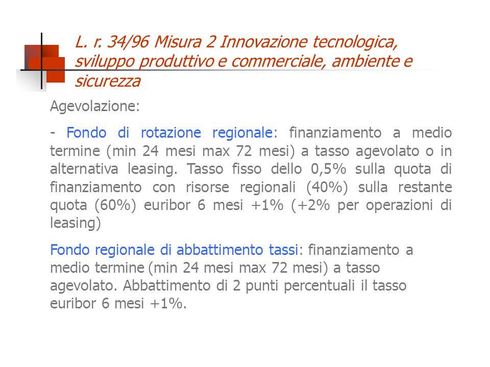 L. r. 34/96 Misura 2 Innovazione tecnologica, sviluppo produttivo e commerciale, ambiente e sicurezza Agevolazione: - Fondo di rotazione regionale: fi