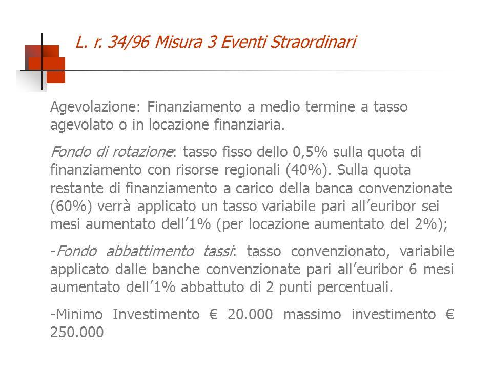 L. r. 34/96 Misura 3 Eventi Straordinari Agevolazione: Finanziamento a medio termine a tasso agevolato o in locazione finanziaria. Fondo di rotazione:
