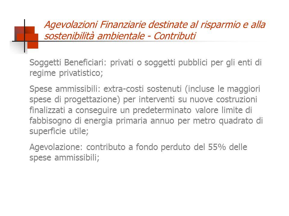 Agevolazioni Finanziarie destinate al risparmio e alla sostenibilità ambientale - Contributi Soggetti Beneficiari: privati o soggetti pubblici per gli