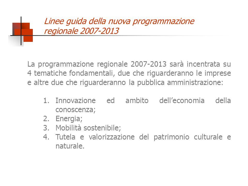 La programmazione regionale 2007-2013 sarà incentrata su 4 tematiche fondamentali, due che riguarderanno le imprese e altre due che riguarderanno la p