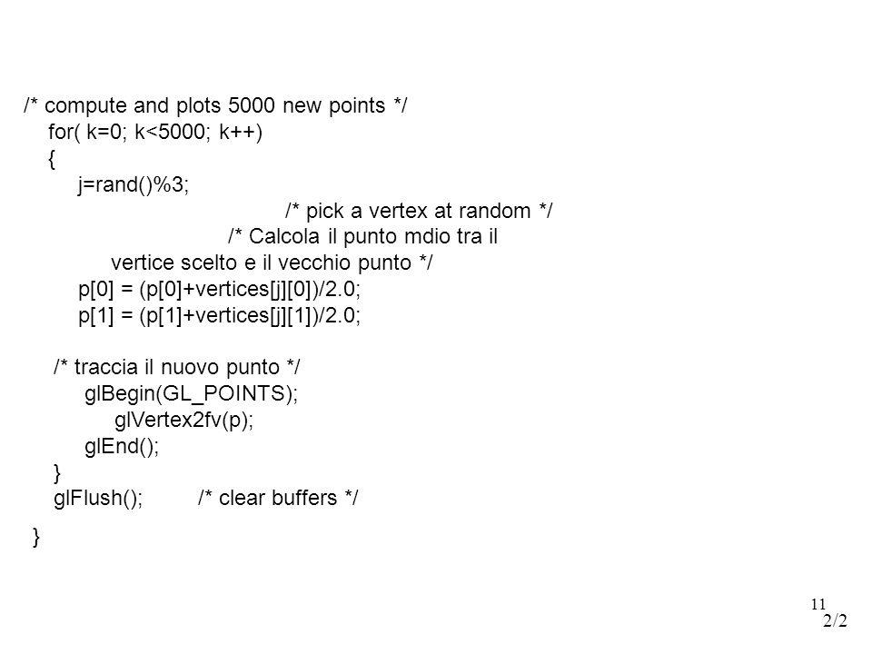11 /* compute and plots 5000 new points */ for( k=0; k<5000; k++) { j=rand()%3; /* pick a vertex at random */ /* Calcola il punto mdio tra il vertice